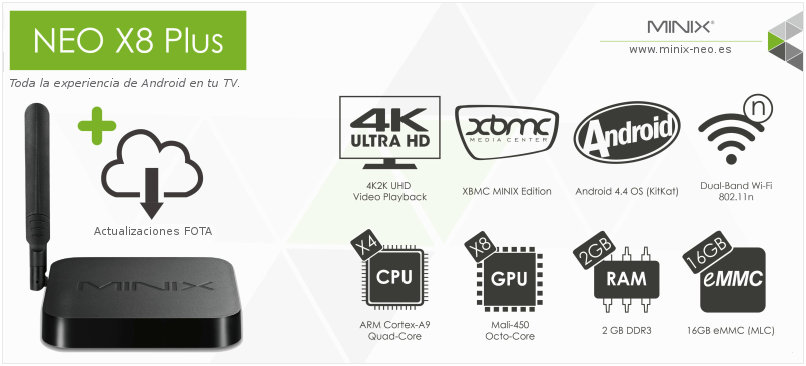 MINIX NEO X8 Plus - Android TV 4K Ultra HD ARM Cortex-A9 Quad Core