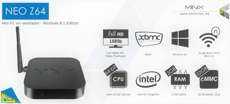 MINIX NEO Z64 Windows 8.1 Edition - Android TV 4K Ultra HD